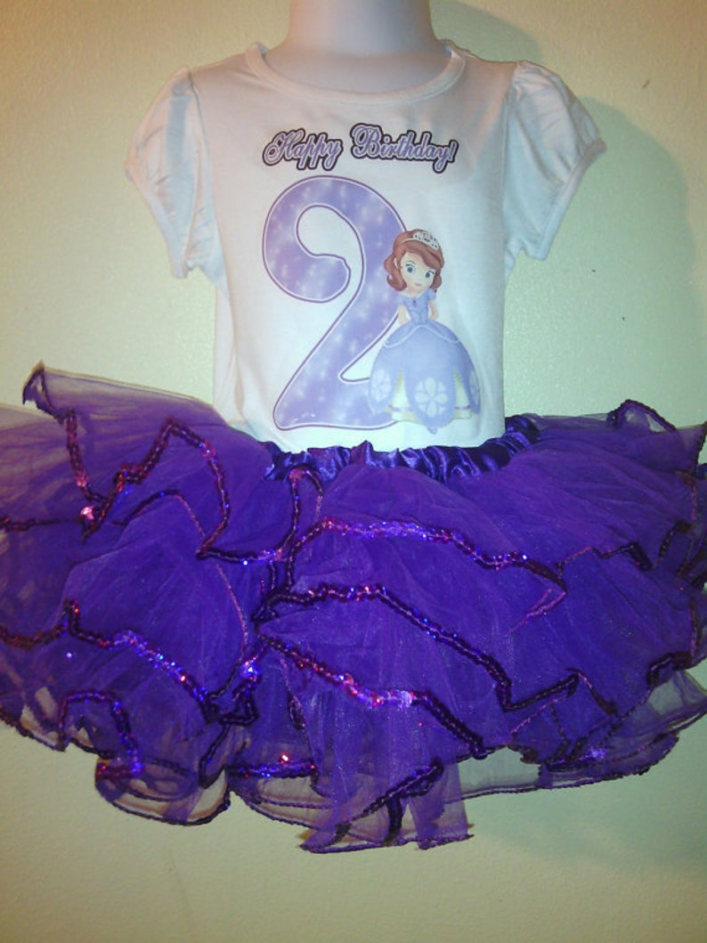 1st Birthday Dress shirt 2pc purple Tutu outfit Sofia The First -With NAME-