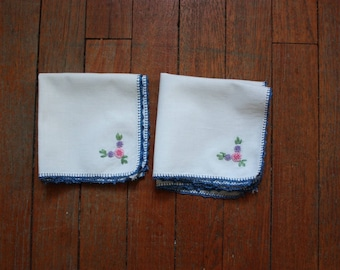 4 Vintage Napkins with Hand Embroidery and Hand Crochet