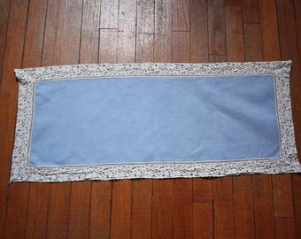 Vintage Blue Runner with White Lace