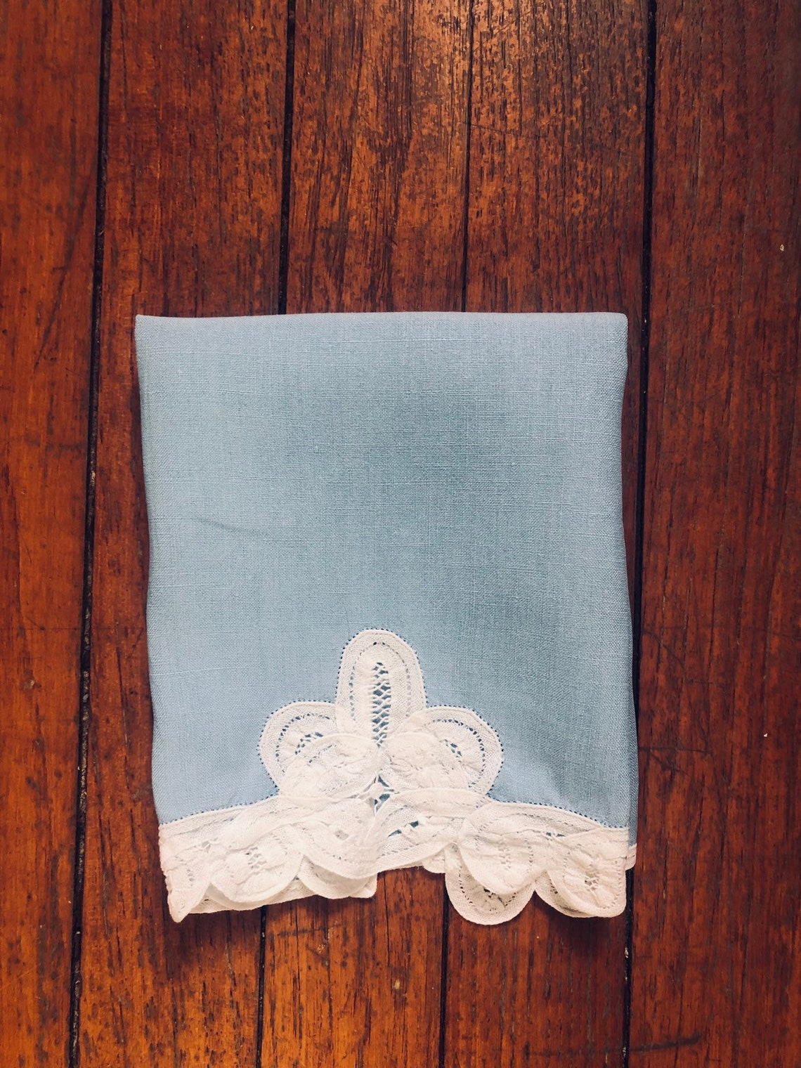 Vintage Blue Hand Towel With Lace image 0