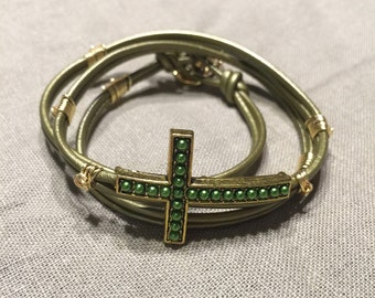 Leather Wrap Bracelet with Cross