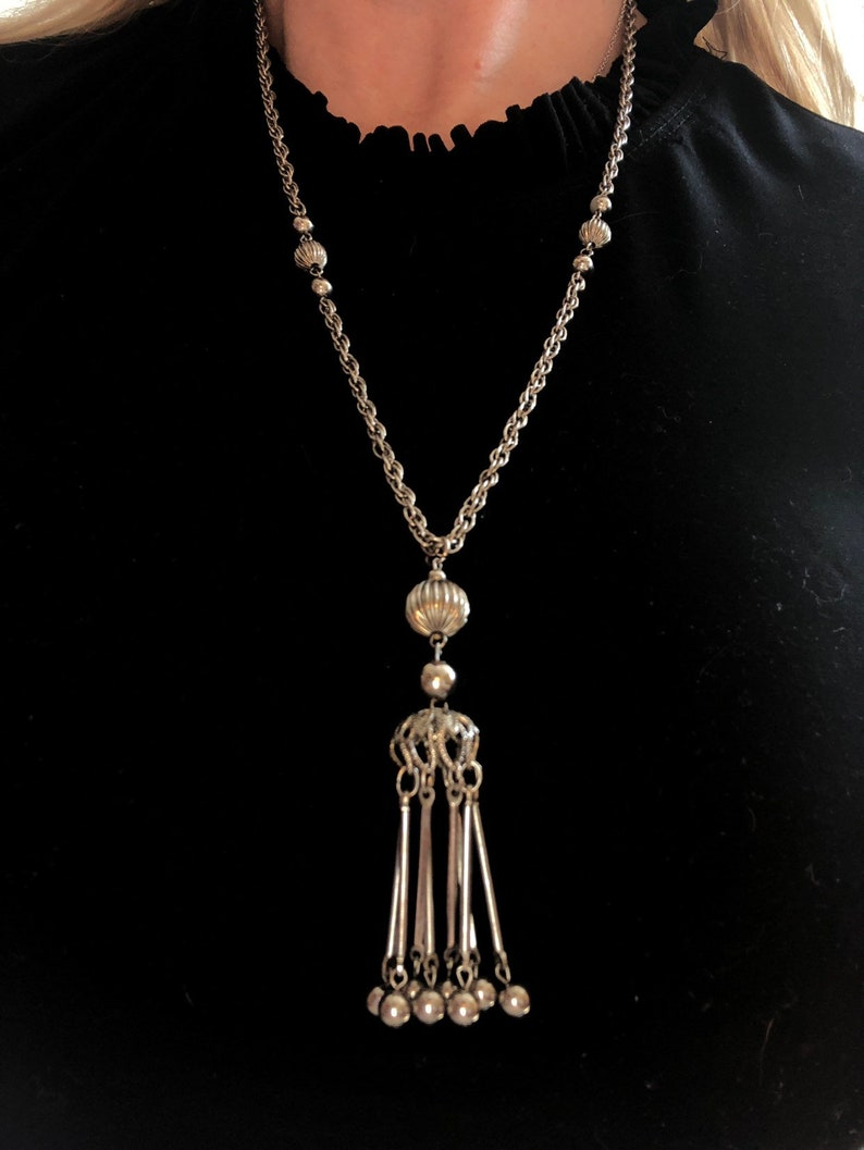 Vintage Tassel Necklace Mid Century Modern Bead Necklace Silver