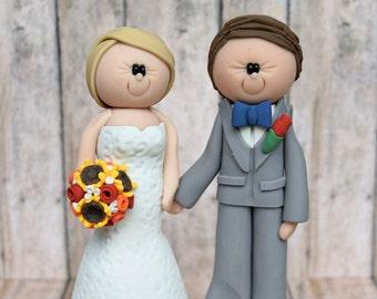 Bride and Groom Cake topper DEPOSIT, personalized wedding cake topper, custom wedding, bride and groom cake topper