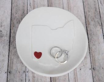 Ring Dish, Ring Holder, wedding, Ohio Ring Dish, State Ring Dish, Ring Bearer Bowl, Custom Ring Dish, Custom Ring holder