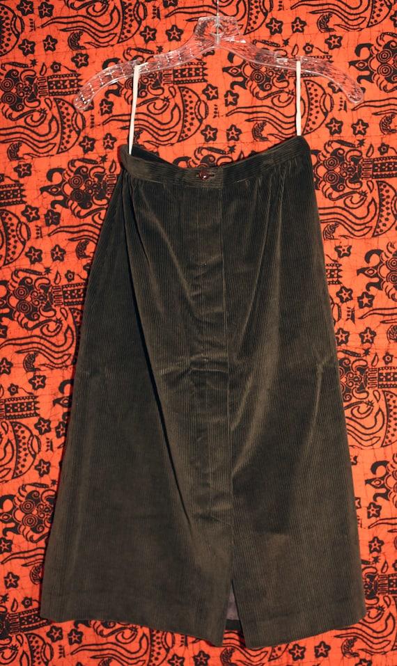 Vintage 70s Sasson Green Corduroy Skirt Suit S - image 3