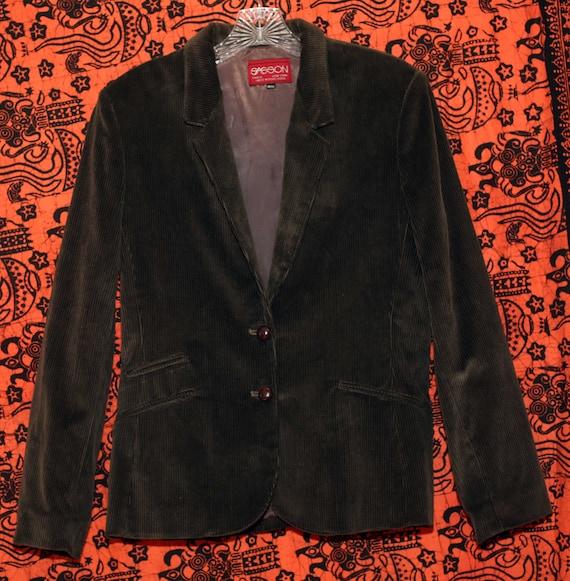 Vintage 70s Sasson Green Corduroy Skirt Suit S - image 7