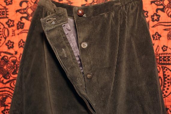 Vintage 70s Sasson Green Corduroy Skirt Suit S - image 4