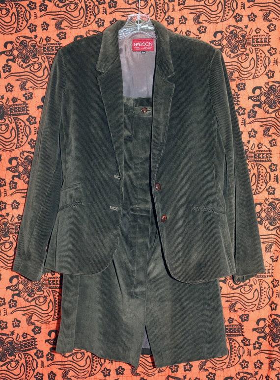 Vintage 70s Sasson Green Corduroy Skirt Suit S - image 2