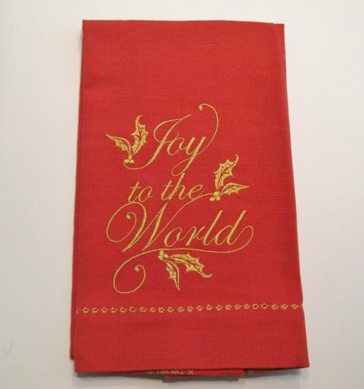 Embroidered Christmas Tea Towel Dish Towel