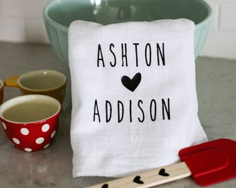 Valentine's Personalized Tea Towels