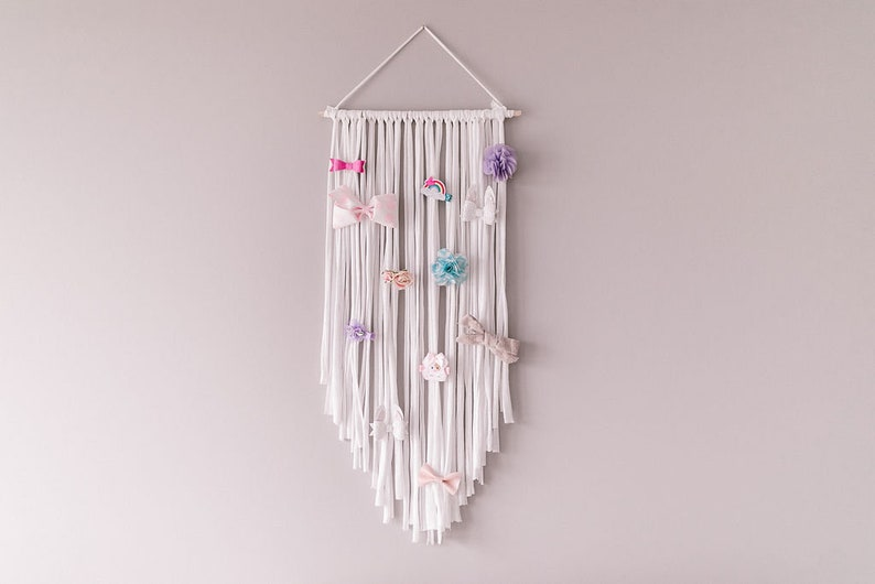 Boho Bow Holder  Hair Bow Organizer  Wall hanging Nursery image 0