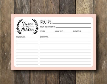Personalized Recipe Cards Etsy