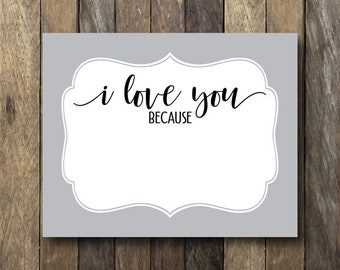 image regarding I Love You Because Printable called I delight in your self considering the fact that Etsy