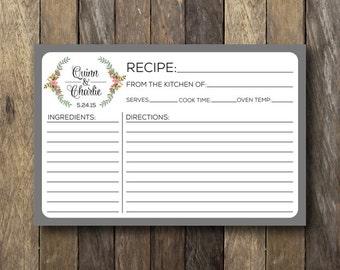 Personalized Recipe Card - Printable Recipe Cards - Bridal Shower Recipe Cards - Personalized Recipe Cards - Bridal Shower Printables