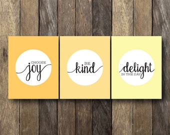 Printable Quote Set - Encouraging Wall Art - Instant Download - Yellow Wall Art - Encouraging Quotes - Yellow Home Decor - Printable Quotes