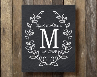 Family Established Print - Printable Download - Chalkboard Monogram Print - Last Name Established - Monogram Printable - Established Sign