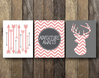 Pink Chevron Printables - Instant Download Wall Art - Tribal Nursery - Pink Chevron - Pink Nursery Art - Tribal Nursery Art - Nursery Prints