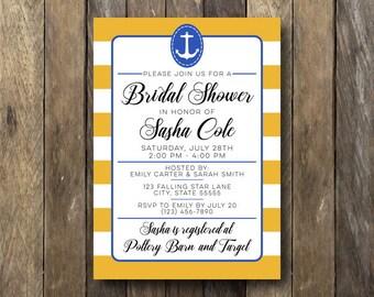 Nautical Wedding Shower Invitation - Printable Bridal Shower Invite - Nautical Wedding Shower - Bridal Shower Invitation - Nautical Shower