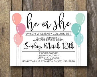 Gender Reveal Invitation - Printable Invite - Gender Reveal Party Invitation - He or She - Printable Gender Reveal Invitation