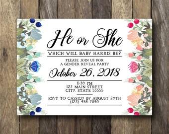 Floral Gender Reveal Invitation - Printable Gender Reveal Party Invitation