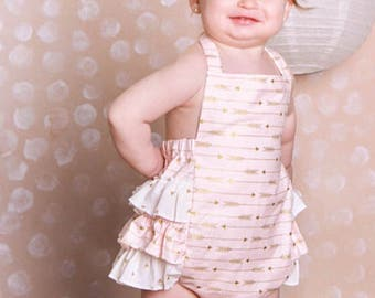 2b9bedebbd4 Baby Girl Ruffle Romper Arrow Ruffle Sunsuit Baby Girl Seersucker Summer  Outfit Halter Outfit Arrows Gold and Pink Sunsuit Newborn