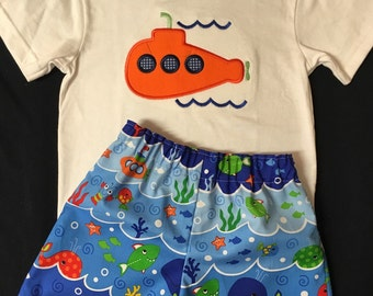 202026b89548 Baby Boy Appliqued Submarine Shirt and Shorts Set Toddler Boy Short Set  Submarine Shorts Beach Summer Underwater Applique Short Set