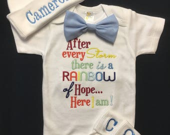 eb04da86fd75 Newborn Baby Boy After Every Storm There is a Rainbow Rainbow Baby Bodysuit  Detachable Bow tie Monogrammed Beanie and Monogrammed Socks