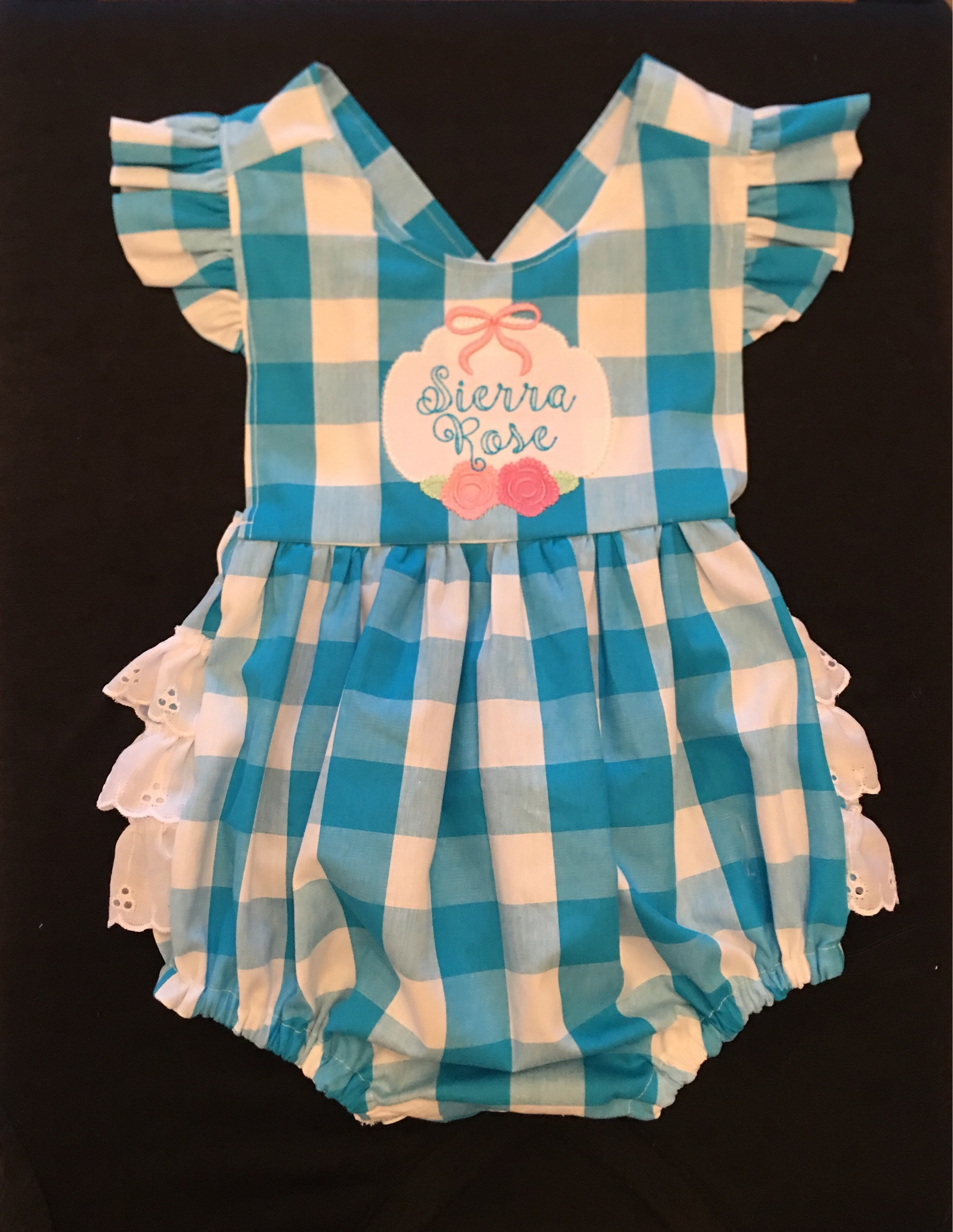 Newborn Baby Girl Ruffle Romper Vintage Stitcheded