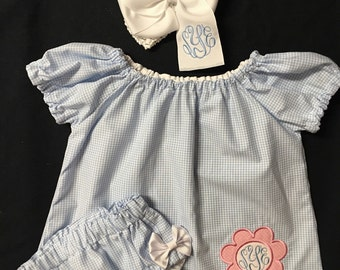 Baby Girls Easter Dress Monogrammed Appliqued Peasant Dress with Matching monogrammed Bloomers and monogrammed Hairbow  3 piece