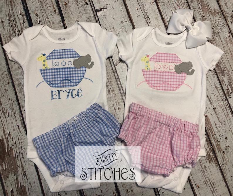 93a80ffaf502 Baby Boy Noahs Ark Bodysuit Matching Blue Seersucker Diaper | Etsy