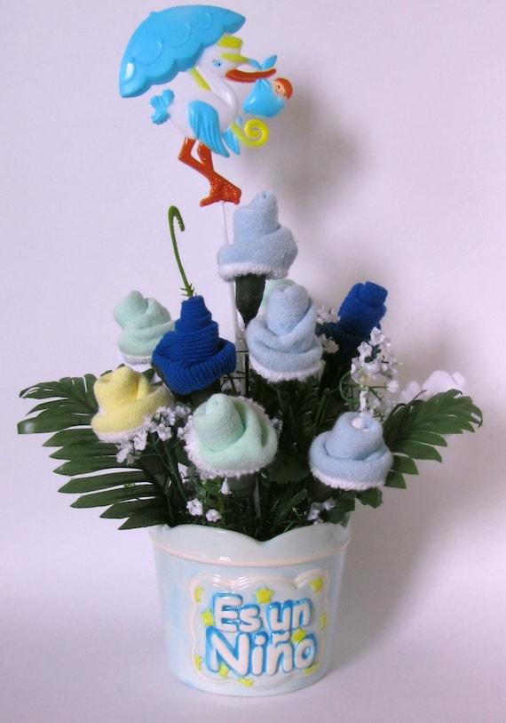 Decoracion De Mesa Para Baby Shower.Es Un Nino Baby Shower Decoration Baby Shower Centerpiece New Baby Gift Baby Socks Flower Centerpiece Unique Baby Gift