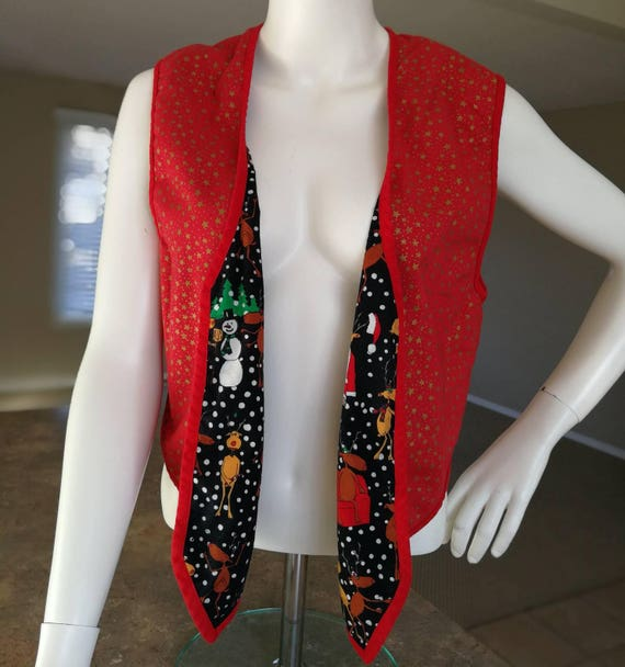 VINTAGE Late 80s 90s Reversible Christmas Vest Reindeer Games Gold Stars Sleeveless Top Festive Winter Holiday Ugly