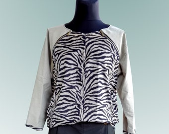 Women's blouse made of imitation suede, zebra. Gr. 42/44