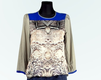 Blouse with pattern of silk and satin, Diamond.  UK 10, US 8