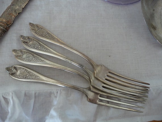 Sterling FORK Initial A!~Silver MONOGRAMMED ViNtAgE FlatwareSilverware WALLACE SaladServing w Gorgeous Etched MonogramMonoInitial~SwEEt
