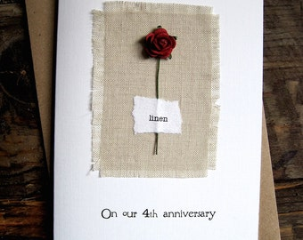 4th Anniversary Keepsake Card LINEN. Natural Linen Fabric with a Single Red Rose. 4 Years Anniversary Wife Husband Fourth Size A6: 15x10.5cm