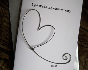 13b7c219e4c88 11th Wedding Anniversary Keepsake Card STEEL Wire Heart 11 Years Traditional  Gift. Husband Wife Size A6  15x10.5cm