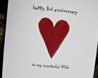 454f1aa0d442 3rd Wedding Anniversary Card LEATHER Traditional Gift Handmade Keepsake  Wife Husband Three Years Red Leather Size A6