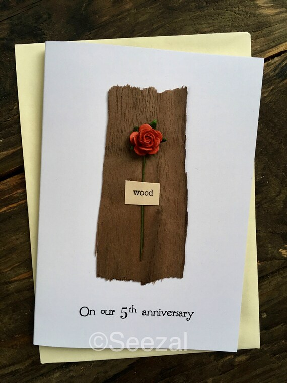 5th Wedding Anniversary Card Wood Traditional Gift For 5 Etsy