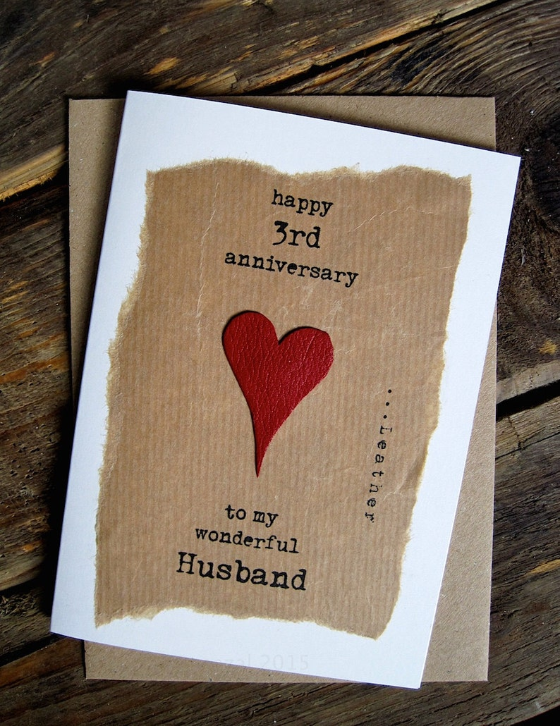 3rd wedding anniversary card leather traditional gift