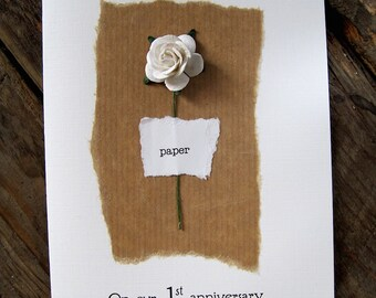 1st Anniversary Keepsake PAPER Card. Brown Parcel paper with a Single White paper Rose. Wife Husband Second Anniversary Gift