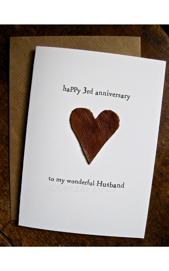 3rd Wedding Anniversary Card HUSBAND Traditional