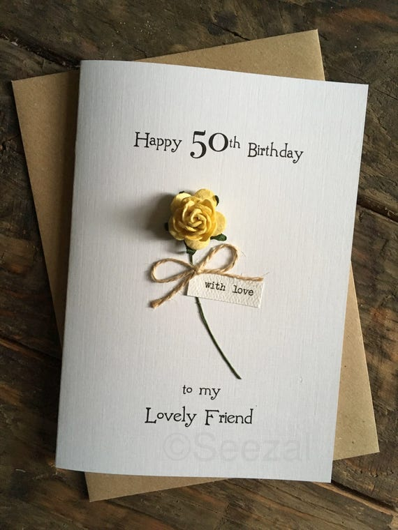30th 40th 50th 60th 70th Birthday Card Friend Yellow Rose Etsy