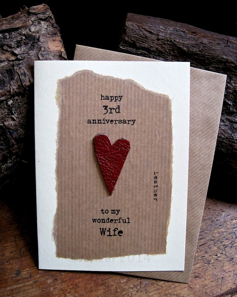 3rd wedding anniversary card leather traditional symbol  etsy