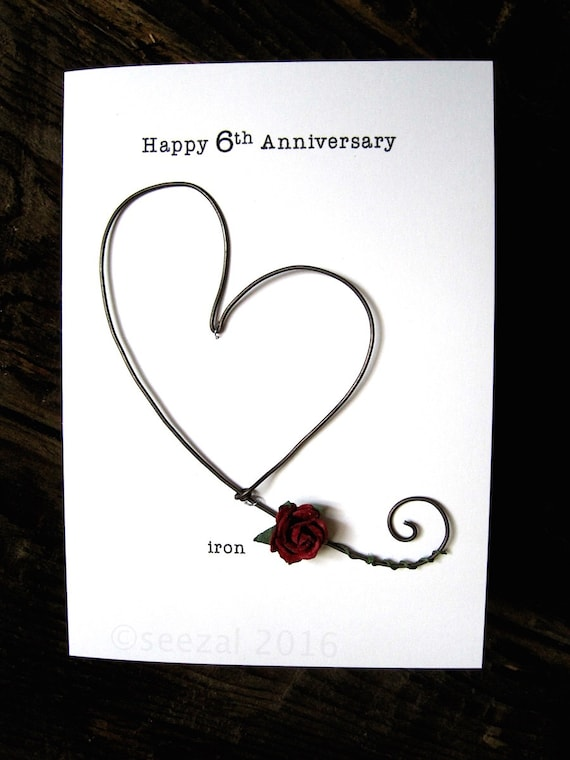 Happy 6th Wedding Anniversary Keepsake Card Iron Wire Heart 6 Etsy