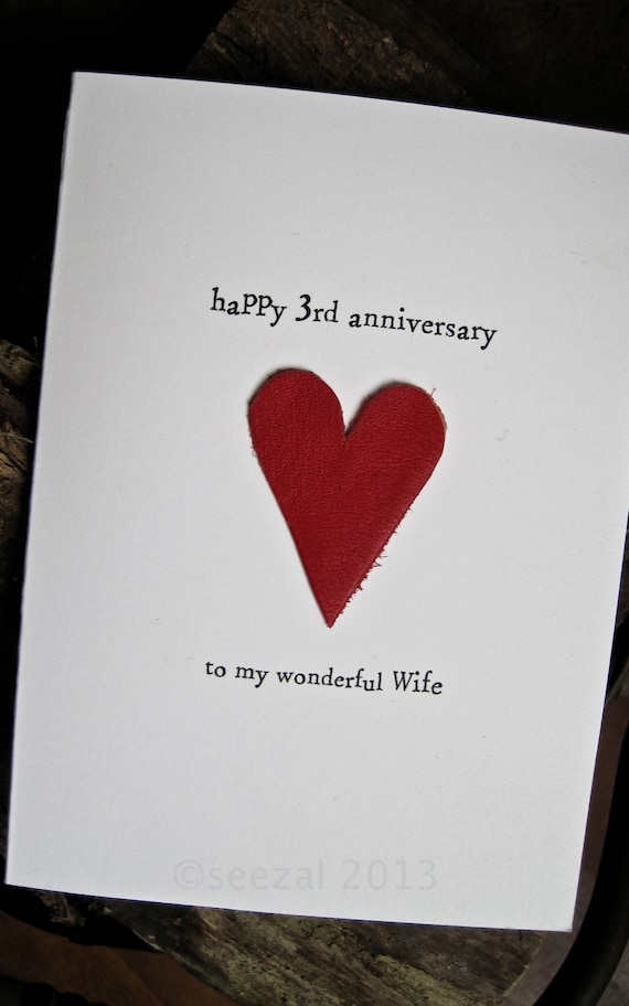 3rd Wedding Anniversary Card Leather Traditional Gift Handmade Etsy