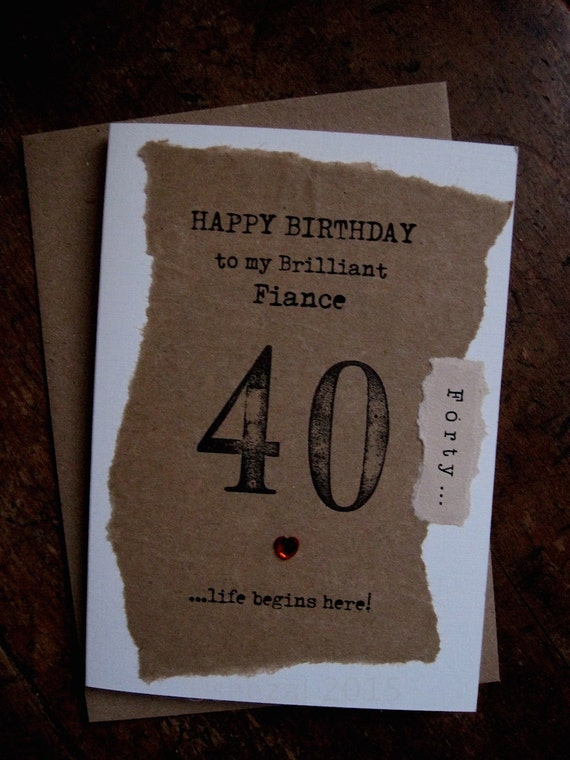 Fiance 30th 40th 50th 60th Birthday Card Hand Stamped Etsy