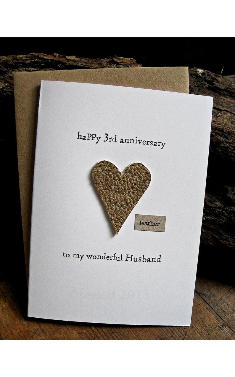 3rd wedding anniversary card husband size a6 15x105cm  etsy
