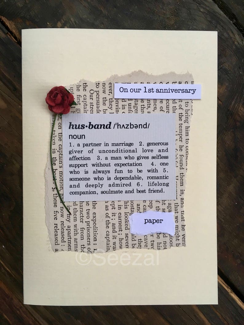 First Wedding Anniversary.1st Anniversary Card Wife Definition First Wedding Anniversary Gift Paper Vintage Book Page Paper Rose Size A6 15x10 5cm