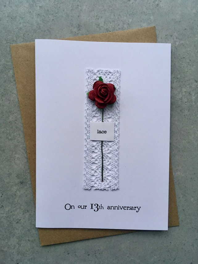 13th Anniversary Keepsake Card Lace Lace With A Single Red Etsy